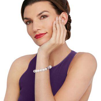 9-10mm Cultured Pearl and Rose Quartz Stretch Bracelet with Purple CZs