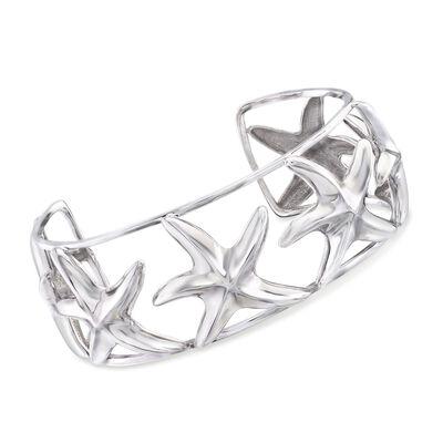 Sterling Silver Starfish Cuff Bracelet, , default