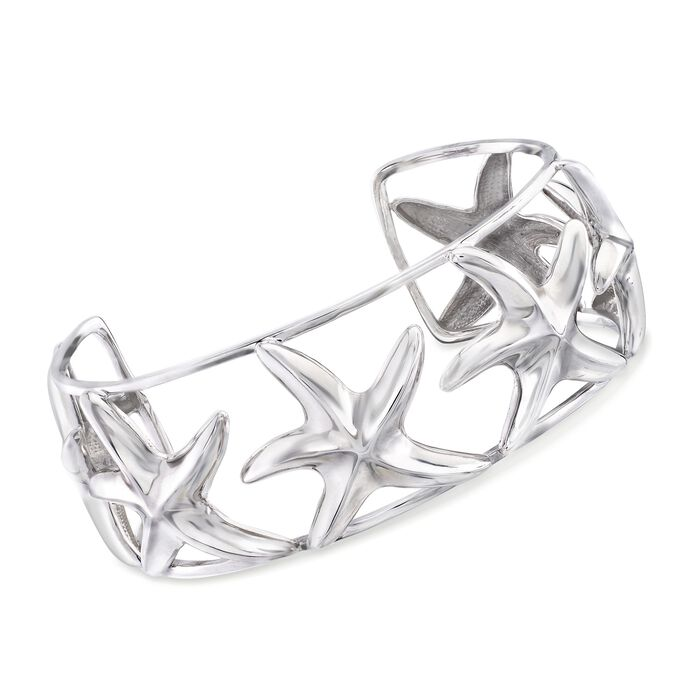 "Sterling Silver Starfish Cuff Bracelet. 8"", , default"