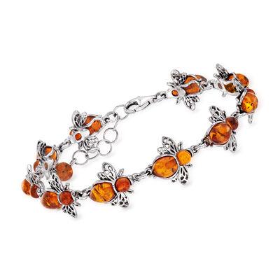 Amber Bumblebee Bracelet in Sterling Silver, , default