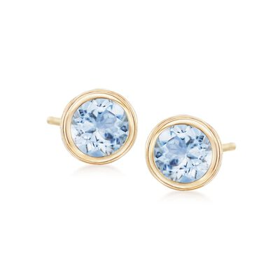 1.00 ct. t.w. Bezel-Set Aquamarine Stud Earrings in 14kt Yellow Gold, , default