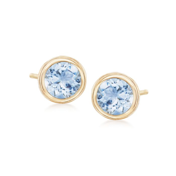 1.00 ct. t.w. Bezel-Set Aquamarine Stud Earrings in 14kt Yellow Gold