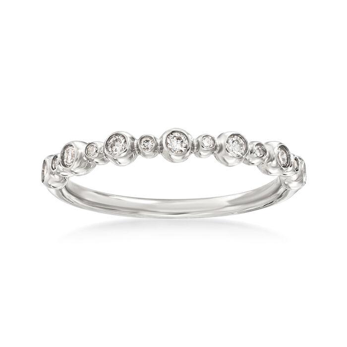 Henri Daussi .18 ct. t.w. Diamond Wedding Ring in 14kt White Gold