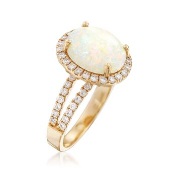 Oval Cabochon Opal and .73 ct. t.w. Diamond Ring in 14kt Yellow Gold, , default