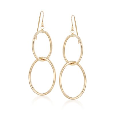 Italian 14kt Yellow Gold Double Oval Drop Hoop Earrings, , default