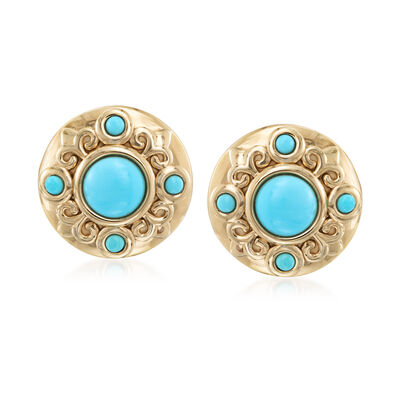 Turquoise Earrings in 14kt Gold Over Sterling, , default
