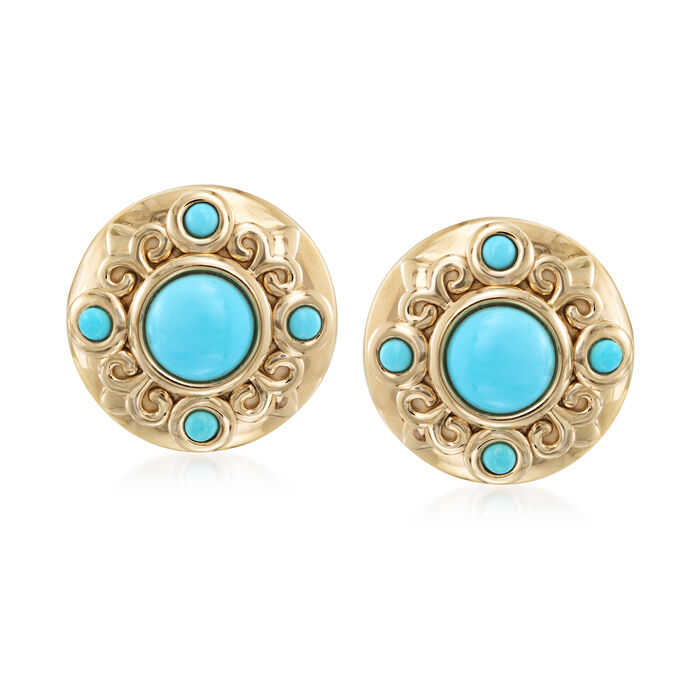Turquoise Earrings in 14kt Gold Over Sterling , , default