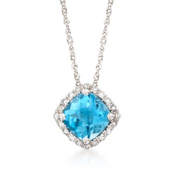 """1.00 Carat Blue Topaz Pendant Necklace With Diamond Accents in 14kt White Gold. 18"""", , default"""