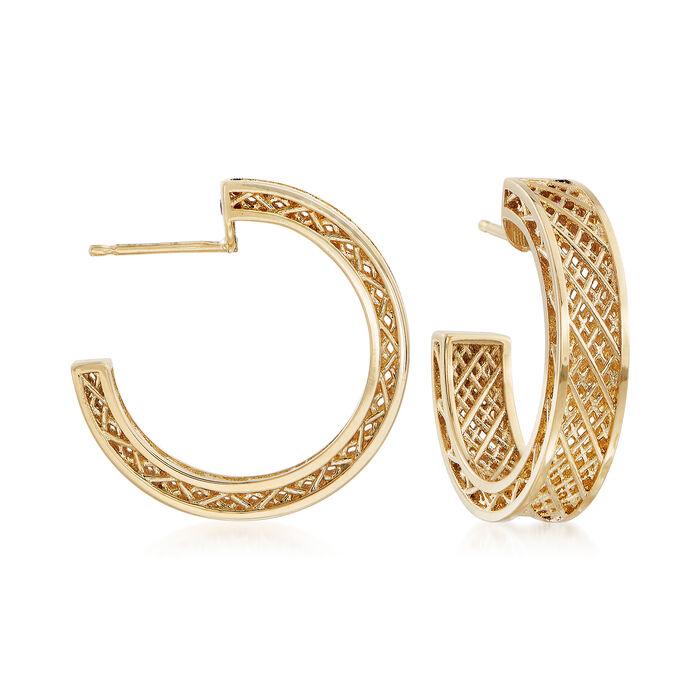 """Roberto Coin 18kt Yellow Gold J-Hoop Earrings. 3/4"""", , default"""