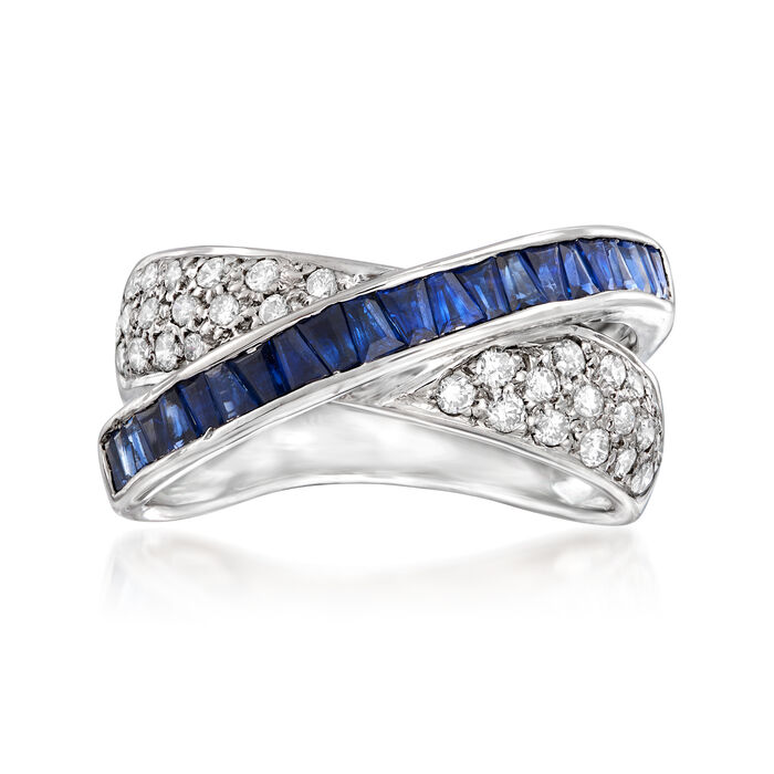 C. 1980 Vintage 1.55 ct. t.w. Sapphire and .50 ct. t.w. Diamond Crisscross Ring in 18kt White Gold. Size 8, , default