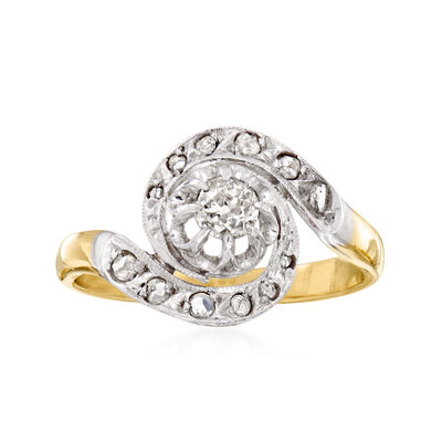 C. 1930 Vintage .45 ct. t.w. Diamond Swirl Ring in Platinum and 18kt Yellow Gold