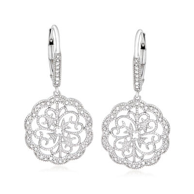 .15 ct. t.w. Diamond Scalloped Scrollwork Drop Earrings in Sterling Silver, , default