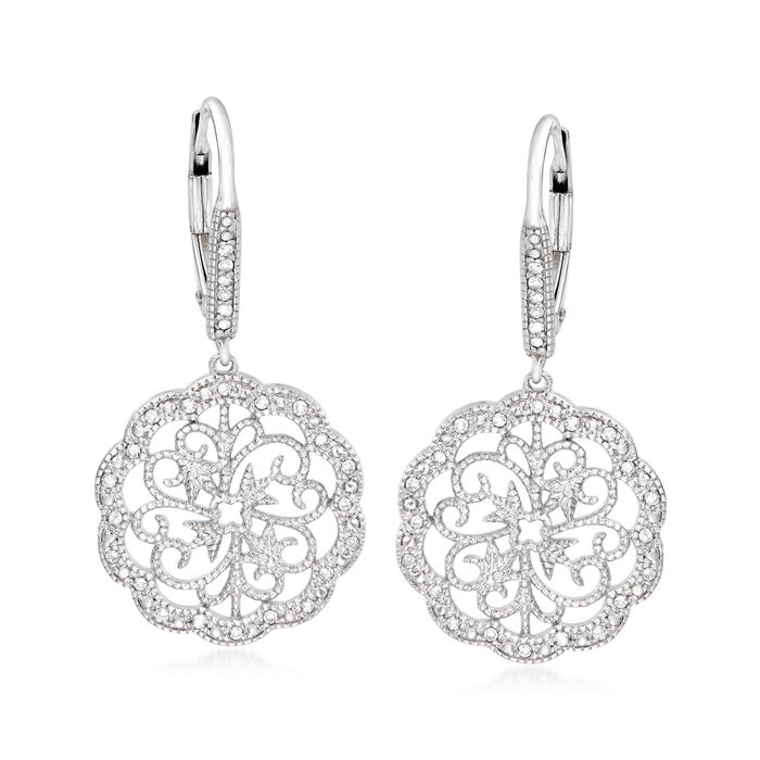 .15 ct. t.w. Diamond Scalloped Scrollwork Drop Earrings in Sterling Silver