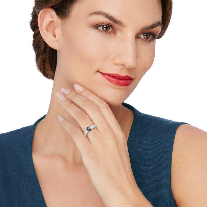 C. 1990 Vintage .60 Carat Sapphire and .60 ct. t.w. Diamond Ring in Platinum. Size 4, , default