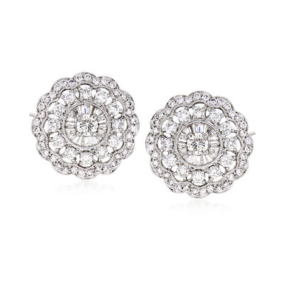 C. 1990 Vintage 2.05 ct. t.w. Diamond Cluster Earrings in 18kt White Gold, , default