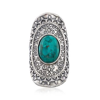 Blue Turquoise Scrollwork Ring in Sterling Silver, , default