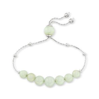 Graduated Green Jade Bead Bolo Bracelet in Sterling Silver