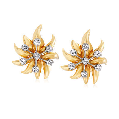 "C. 1980 Vintage Tiffany Jewelry ""Schlumberger"" .70 ct. t.w. Diamond Flower Clip-On Earrings in Platinum and 18kt Yellow Gold, , default"