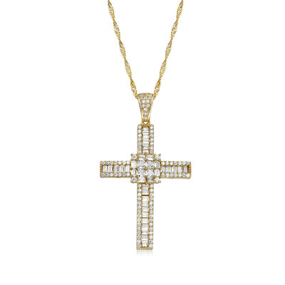 2.16 ct. t.w. CZ Cross Pendant in 18kt Gold Over Sterling, , default