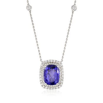 """11.00 Carat Violet Tanzanite and 1.30 ct. t.w. Diamond Necklace in 14kt White Gold. 16.5"""", , default"""