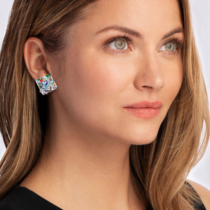 """Belle Etoile """"Tropical Rainforest"""" Blue and Multicolored Enamel Earrings with .10 ct. t.w. CZs in Sterling Silver"""