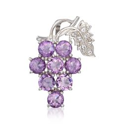 5.00 ct. t.w. Amethyst and .10 ct. t.w. White Topaz Grape Cluster Pendant in Sterling Silver, , default