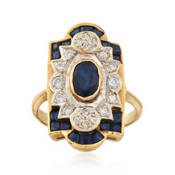 C. 1970 Vintage 1.40 ct. t.w. Sapphire and .25 ct. t.w. Diamond Ring in 18kt Yellow Gold, , default