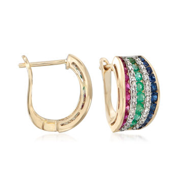 1.70 ct. t.w. Multi-Gemstone and .32 ct. t.w. Diamond Hoop Earrings in 14kt Yellow Gold. 1/2""