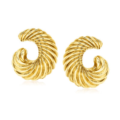 C. 1970 Vintage 18kt Yellow Gold Swirl Clip-On Earrings