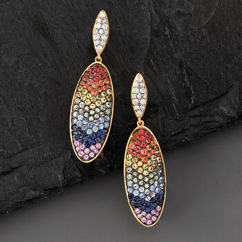 2.50 ct. t.w. Multicolored Sapphire and .39 ct. t.w. Diamond Drop Earrings in 14kt Yellow Gold