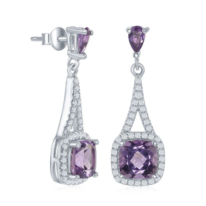 3.00 ct. t.w. Amethyst and .52 ct. t.w. White Topaz Drop Earrings in Sterling Silver