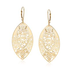 Italian 14kt Yellow Gold Openwork Butterfly Marquise Drop Earrings, , default