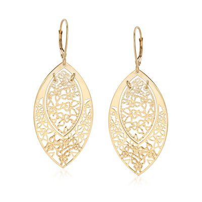 Italian 14kt Yellow Gold Openwork Butterfly Marquise Drop Earrings, , default