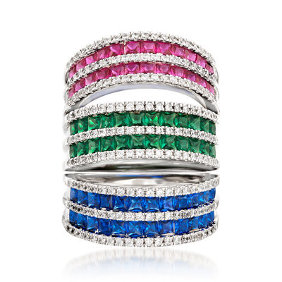 1.20 ct. t.w. Simulated Gemstone and .30 ct. t.w. CZ Ring Set in Sterling Silver, , default