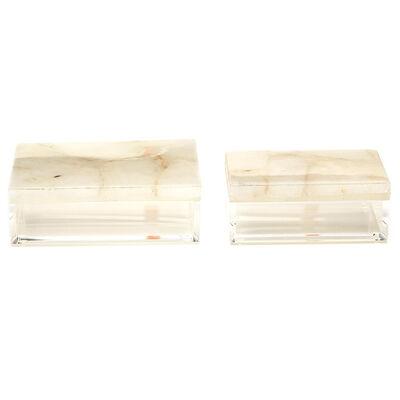 Set of Two Genuine White Quartz Decorative Boxes, , default