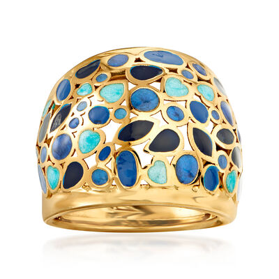 Italian Blue Enamel Dome Ring in 14kt Yellow Gold