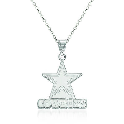 Sterling Silver NFL Dallas Cowboys Large Pendant Necklace. 18""