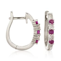 ".30 ct. t.w. Ruby and .10 ct. t.w. Diamond Hoop Earrings in 14kt White Gold. 1/2"", , default"