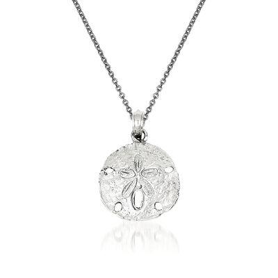 14kt White Gold Sand Dollar Pendant Necklace, , default