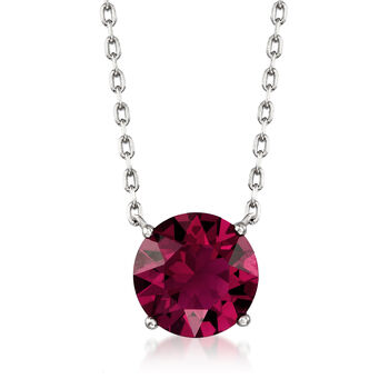 "Jewelry Set: Ruby Red Swarovski Crystal Necklace and Earrings in Sterling Silver. 16"", , default"