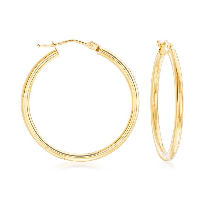 """Italian 2mm 18kt Yellow Gold Hoop Earrings. 1 1/8"""""""