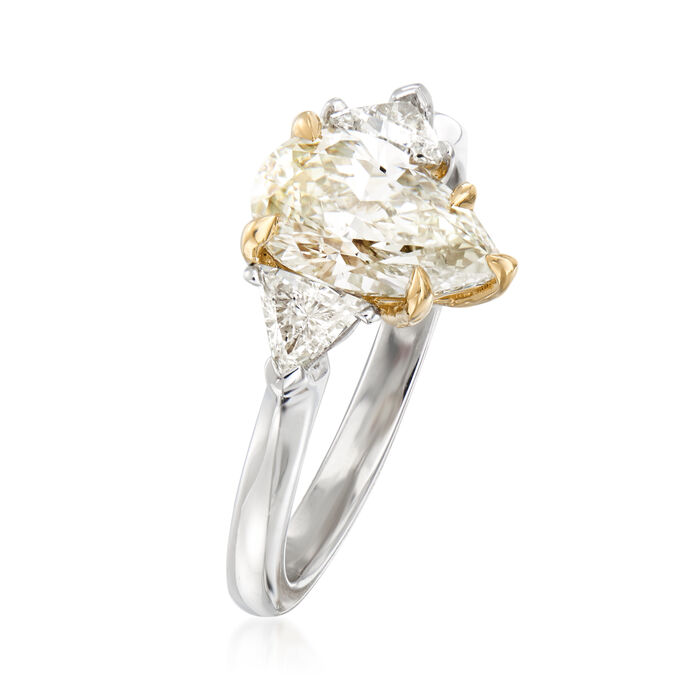 C. 2020 Vintage 1.58 Carat Certified Yellow Diamond and .39 ct. t.w. Diamond Ring in Platinum and 18kt Yellow Gold