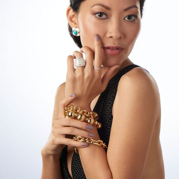 "Italian Andiamo 14kt Yellow Gold Fluted Bead Bracelet. 8"", , default"