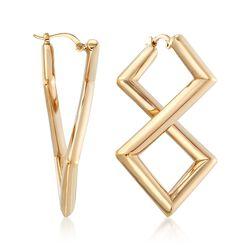 14kt Yellow Gold Geometric-Shaped Twist Earrings, , default