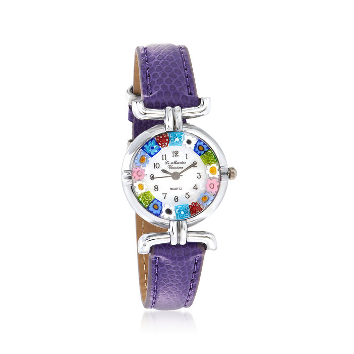 Italian Woman's Floral Multicolored Murano Glass 26mm Watch with Purple Leather