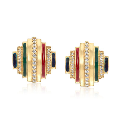 Italian .70 ct. t.w. CZ and Multicolored Enamel Earrings in 18kt Gold Over Sterling, , default