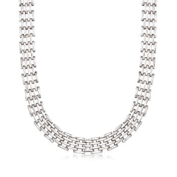 Sterling Silver Multi-Row Oval-Link Necklace, , default