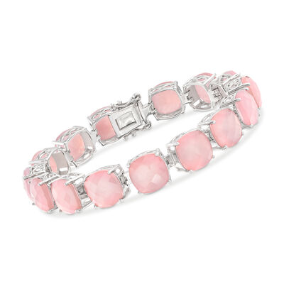 10mm Pink Chalcedony Tennis Bracelet in Sterling Silver, , default