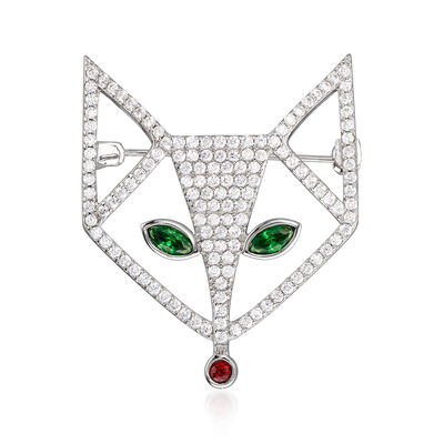 1.25 ct. t.w. CZ and .58 ct. t.w. Simulated Emerald Fox Pin with Simulated Ruby Accents in Sterling Silver
