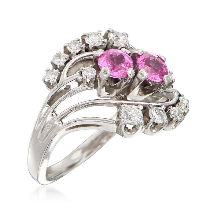 C. 1960 Vintage .80 ct. t.w. Pink Sapphire and .36 ct. t.w. Diamond Ring in 18kt White Gold